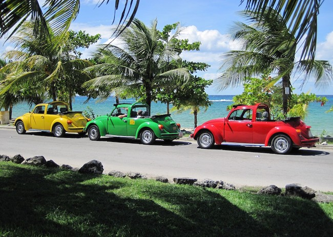 Sightseeing tour in Cozumel with VW vehicles.